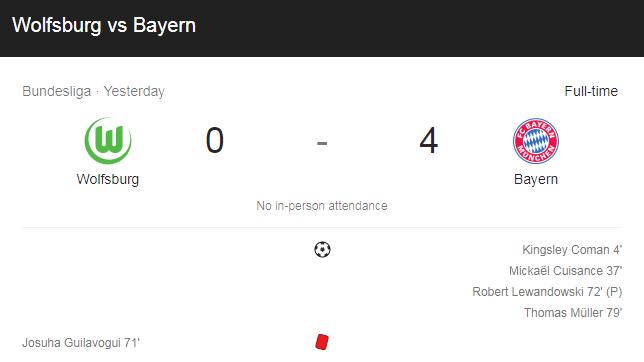 Hasil Pertandingan Wolfsburg vs Bayern Munchen