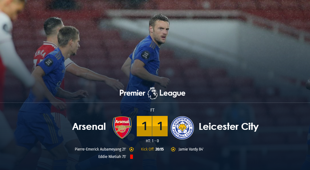 Hasil Full Time Arsenal vs Leicester City