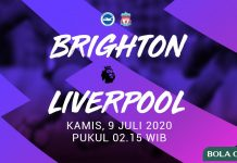 Brighton vs Liverpool tadi malam